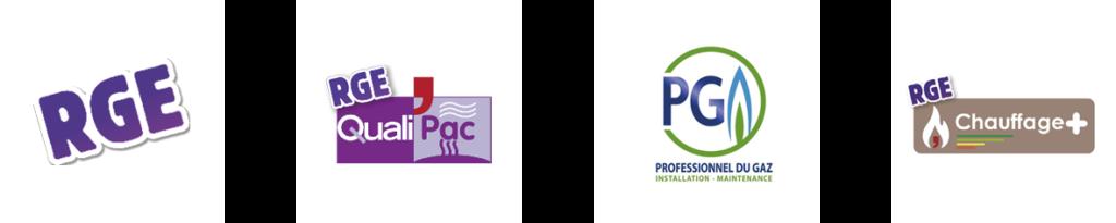 Labels Eric BEZIER : RGE Professionnels du Gaz - Chauffage + - RGE QualiPac